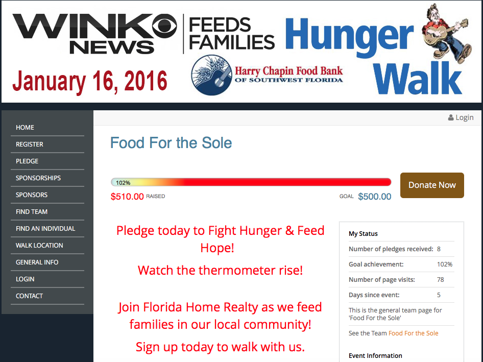 Florida Home Realty Hunger Walk Team Reached Their Goal