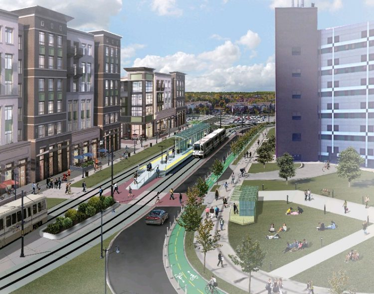 A rendering of plans for the Metro Rail station at the University at Buffalo's North Campus in Amherst, part of the proposal to add 6.5 miles to the line, for a total of just under 13 miles.