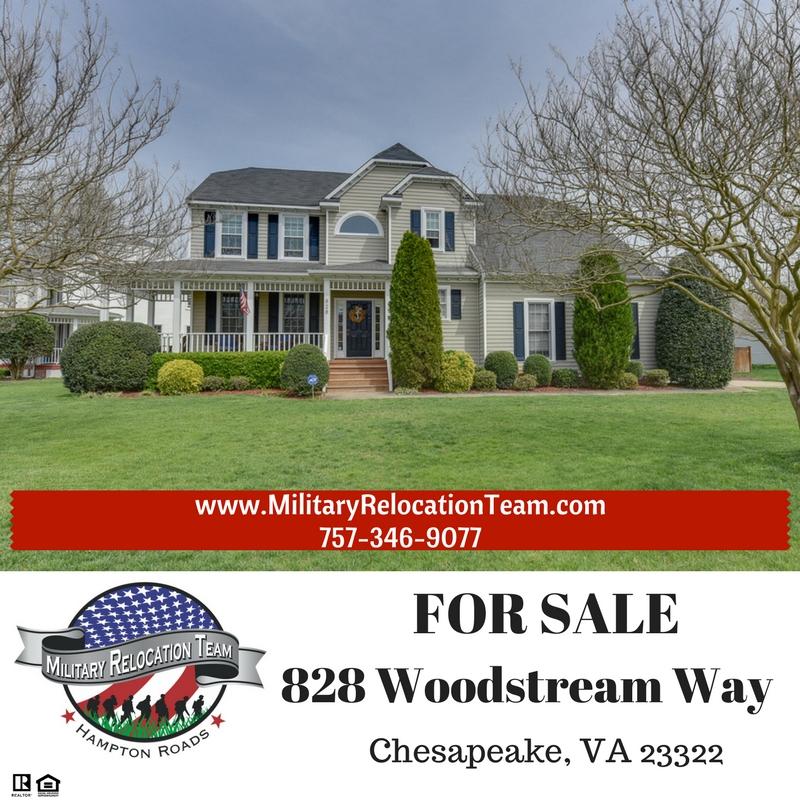 828 WOODSTREAM WAY CHESAPEAKE, VA 23322 For Sale by The Hampton Roads Military Relocation Team