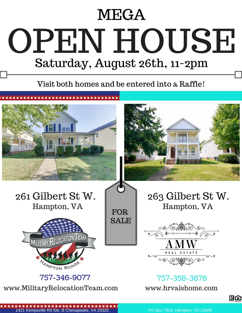 MEGA OPEN HOUSE ALERT SATURDAY! 261 & 263 W GILBERT ST. HAMPTON 23669