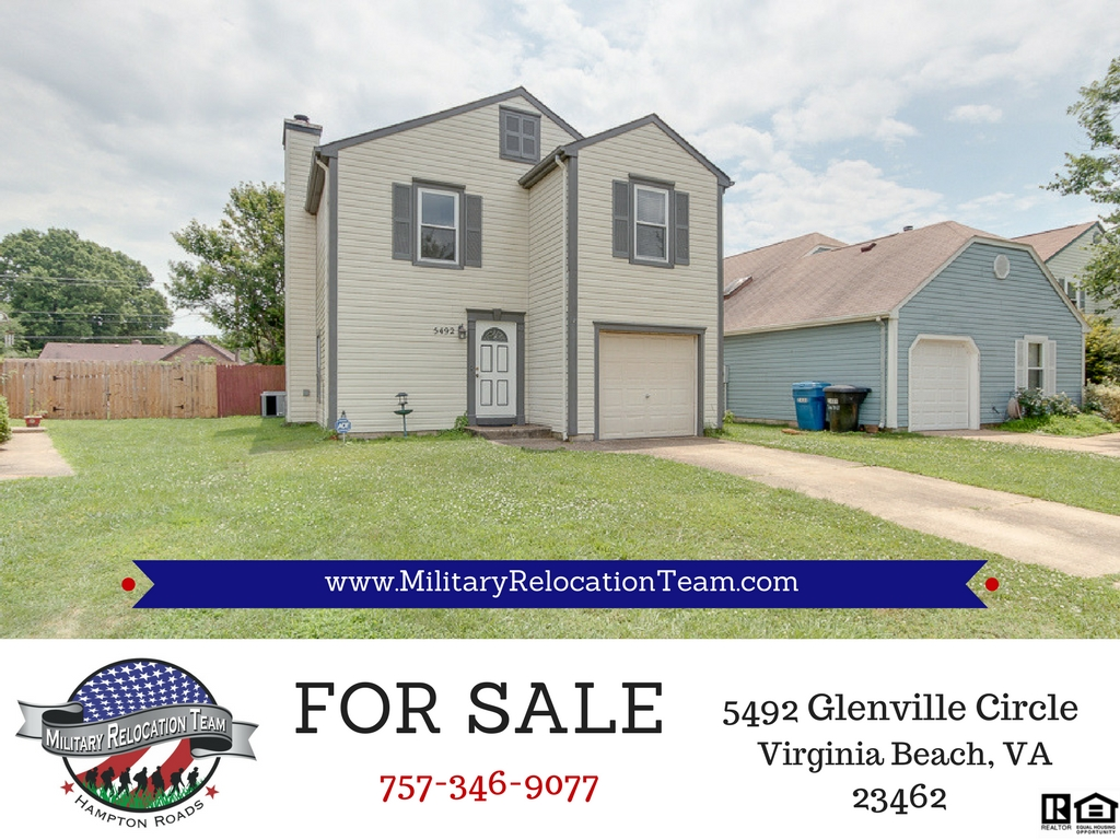 FOR SALE 5492 GLENVILLE CIRCLE VIRGINIA BEACH 23462 by The Hampton Roads Military Relocation Team