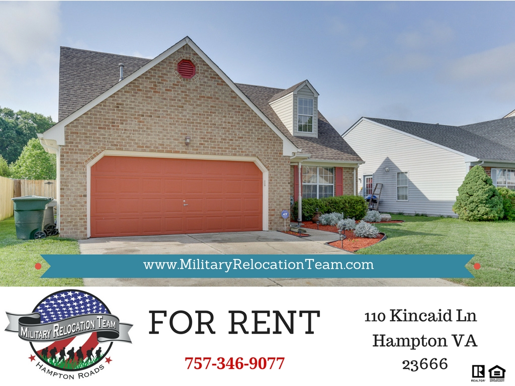 110 KINCAID LN HAMPTON VA 23666 FOR RENT by The Hampton Roads Military Relocation