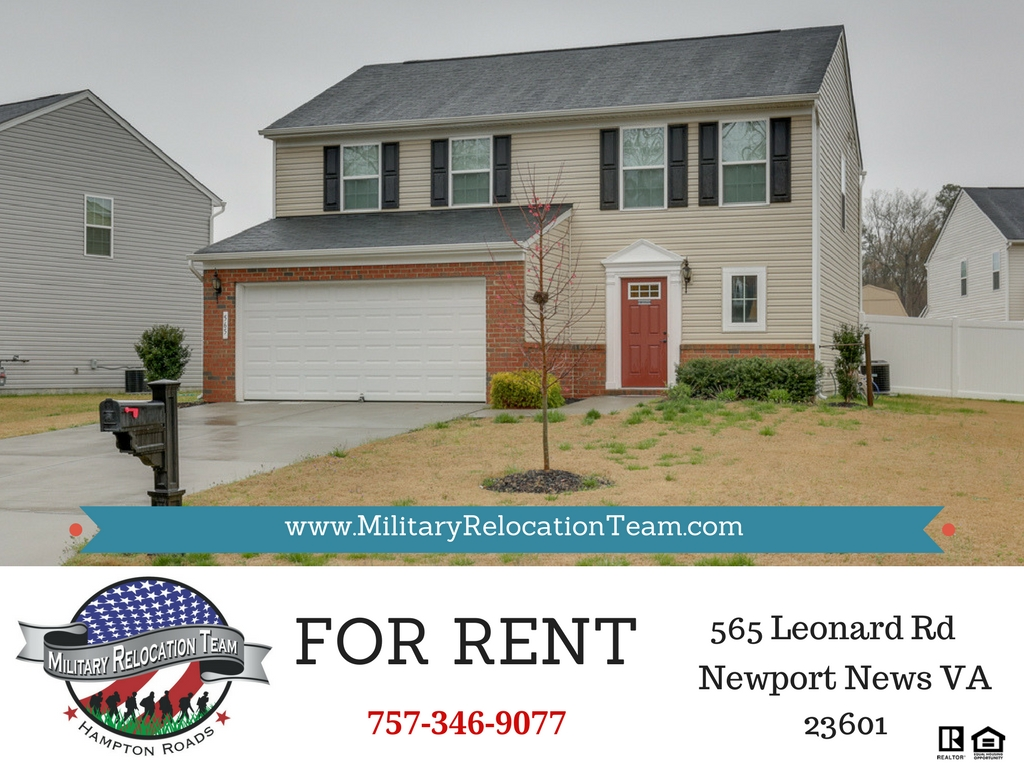 565 LEONARD LN NEWPORT NEWS 23601 FOR RENT by The Hampton Roads Military Relocation Team