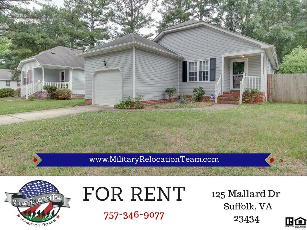 FOR RENT 125 MALLARD DR SUFFOLK, VA 23434 by The Hampton Roads Military Relocation Team