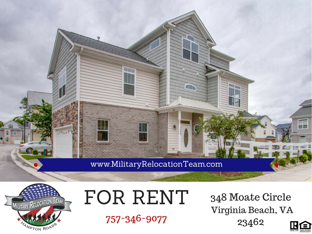 FOR RENT 348 MOATE CIRCLE VIRGINIA BEACH, VA 23462 by The Hampton Roads Military Relocation Team