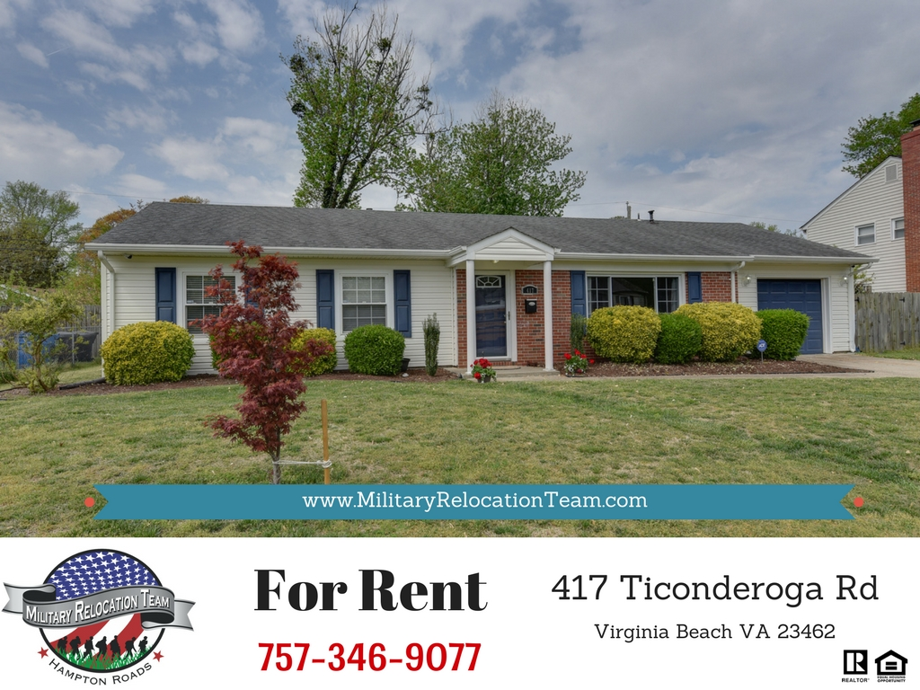 417 TICONDEROGA RD VIRGINIA BEACH VA 23462 FOR RENT by The Hampton Roads Military Relocation Team