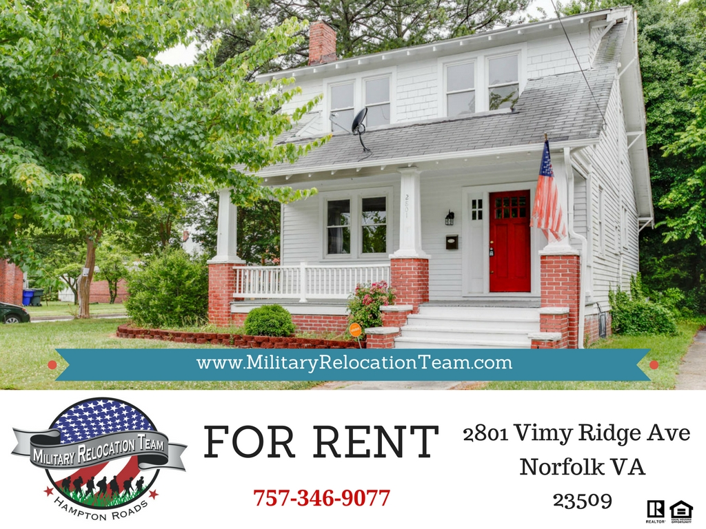 2801 VIMY RIDGE AVE NORFOLK VA  23509 FOR RENT by The Hampton Roads Military Relocation Team