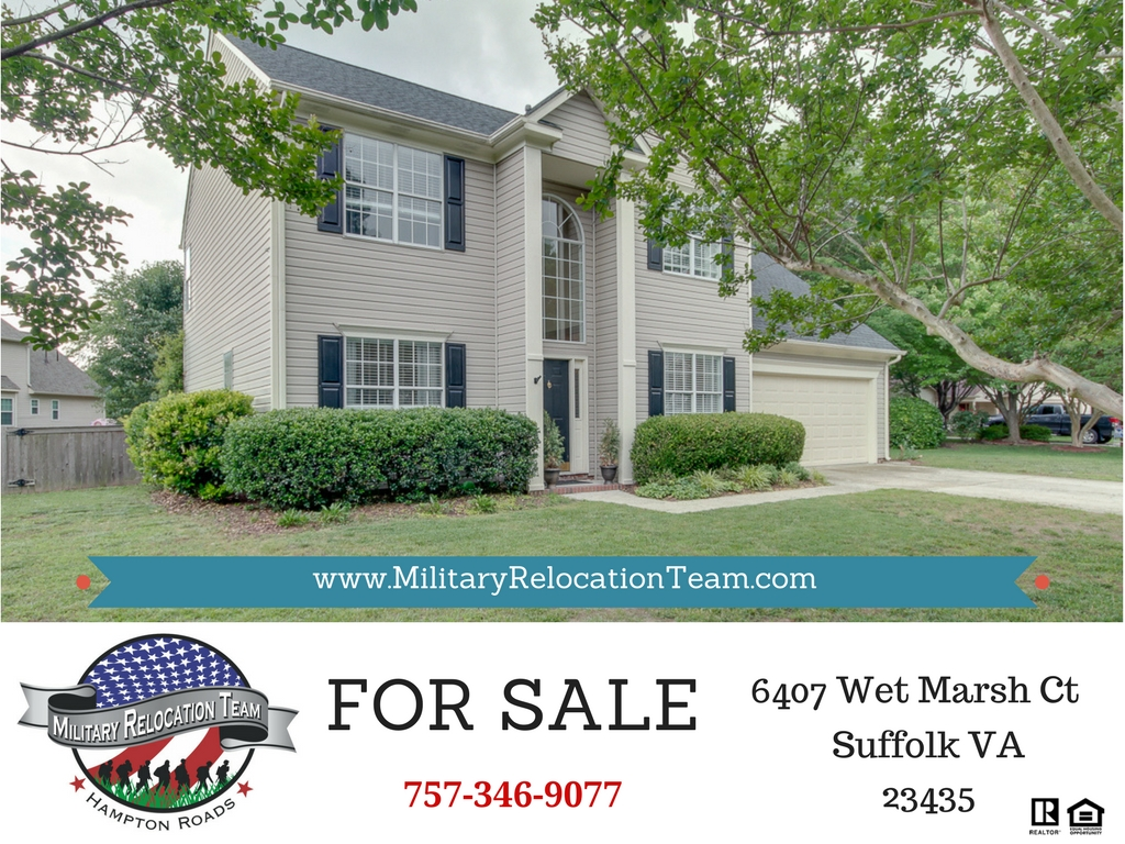 6407 WET MARSH CT SUFFOLK VA 23435 FOR SALE by the Hampton Roads Military Relocation Team!