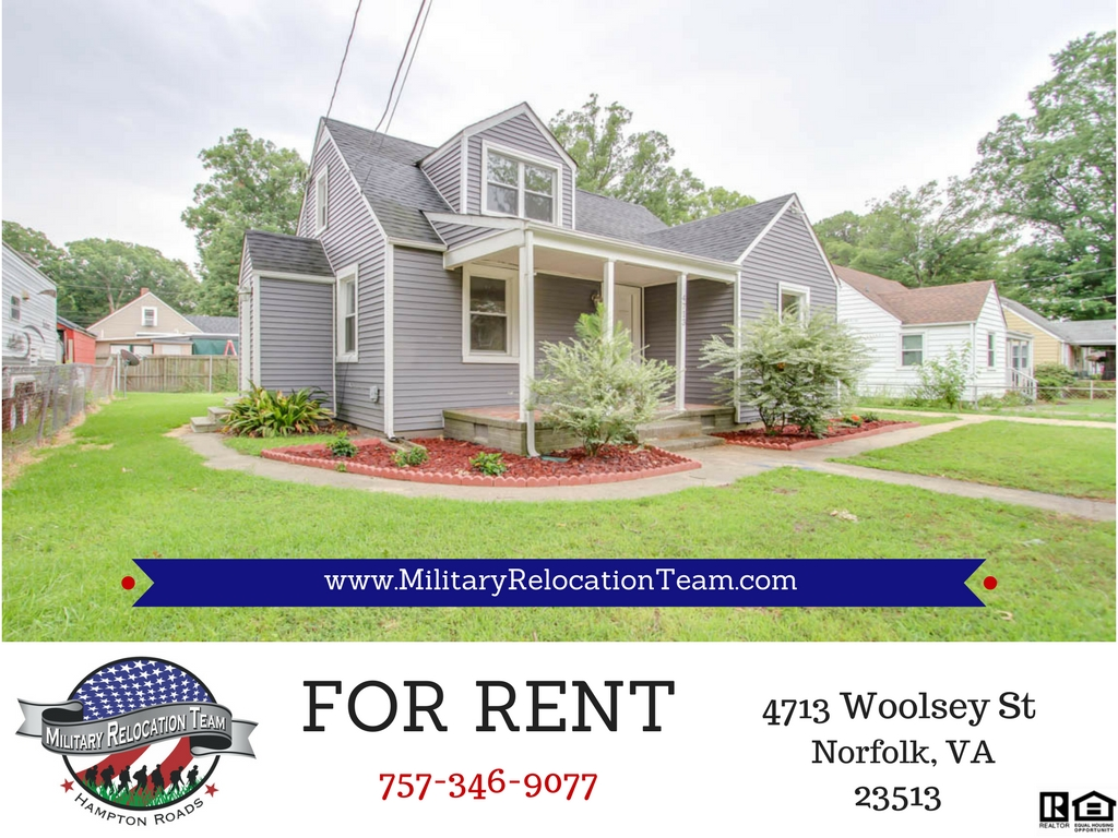 FOR RENT 4713 WOOLSEY ST, NORFOLK, VA 23513 by The Hampton Roads Military Relocation Team