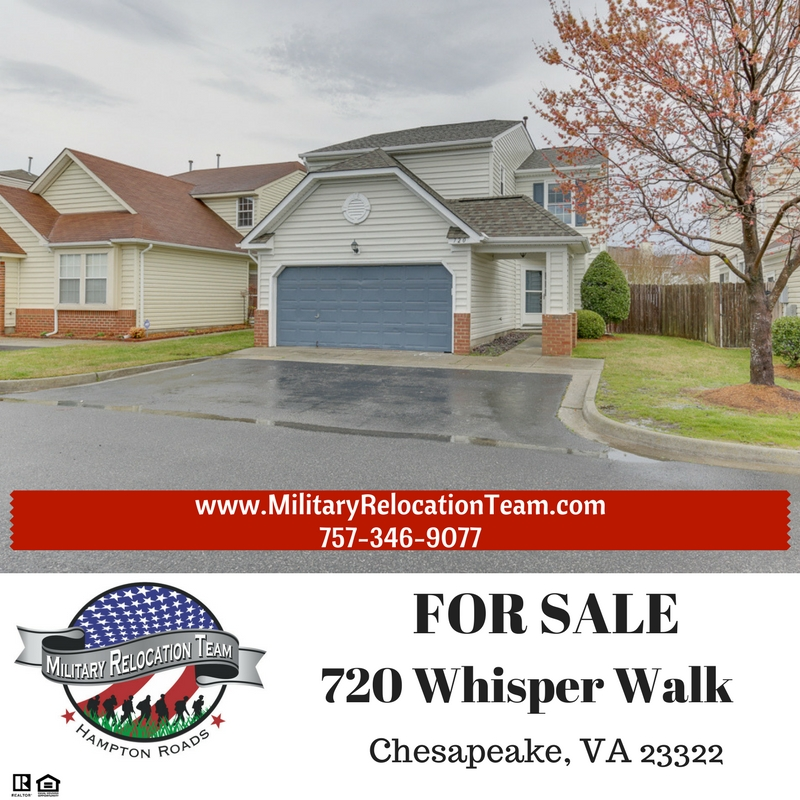 720 WHISPER WALK CHESAPEAKE VA 23322 FOR SALE by The Hampton Roads Military Relocation Team